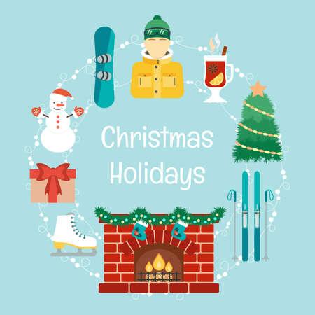 the attributes: Christmas holidays. Winter holidays. Christmas and winter attributes. Icons in the flat design. Vector illustration