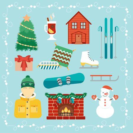 winter holidays: Christmas holidays icons. Winter holidays. Christmas and winter attributes. Icons in the flat design. Vector illustration Illustration