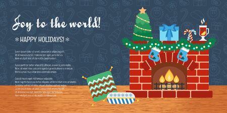 attributes: Christmas attributes. Christmas holidays. Horizontal christmas gift card. Joy to the world. Flat design. Vector illustration Illustration