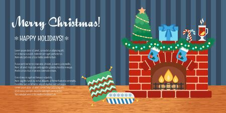 attributes: Horizontal christmas gift card. Christmas attributes. Flat design. Vector illustration