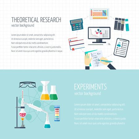 bureta: Vector concepto de investigación y la industria química. Banners horizontales de investigación teórica y los experimentos. Iconos del diseño plano con texto de ejemplo. Ilustración vectorial
