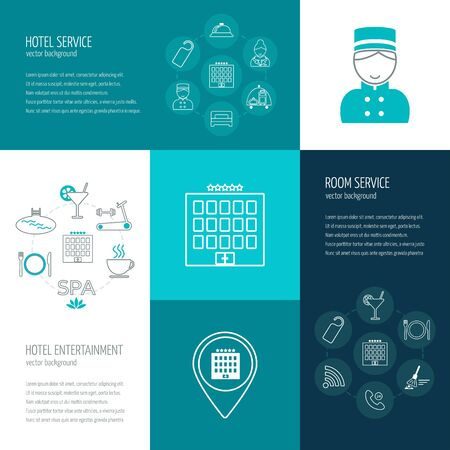 room service: Vector concept of hotel service, entertainment, room service.  Icons in the flat design with sample text. Vector illustration Illustration