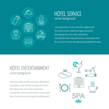 bed room: Horizontal banners of hotel service and entertainment. Icons in the flat design with sample text. Vector illustration Illustration