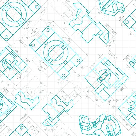 axial: Seamless pattern of engineering drawings of parts. Vector illustration
