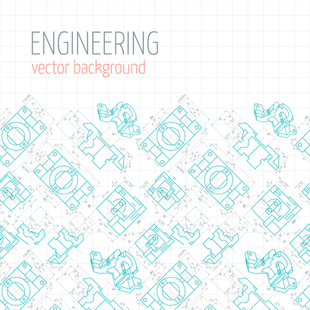 axial: Poster, cover, banner, background of blue engineering drawings of parts. Vector illustration