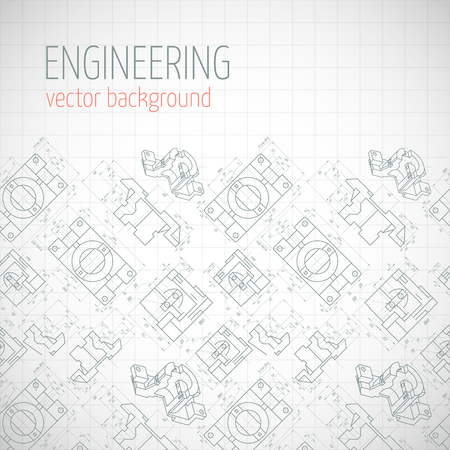 axial: Poster, cover, banner, background of engineering drawings of parts. Notebook sheet. Vector illustration Illustration