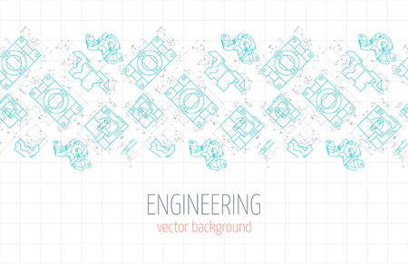 axial: Horizontal poster, cover, banner, background of blue engineering drawings of parts. Vector illustration Illustration