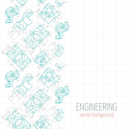 axial: Abstract poster, cover, banner, background of blue engineering drawings of parts. Vector illustration