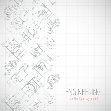axial: Abstract poster, cover, banner, background with technical drawing of parts. Notebook sheet. Vector illustration