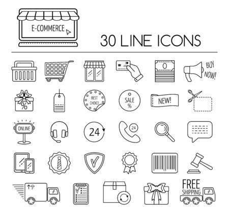 ecommerce icons: Set of line e-commerce icons. Flat design. Vector illustration