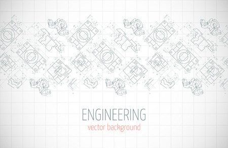 axial: Horizontal poster, cover, banner, background of blue engineering drawings of parts. Notebook sheet. Vector illustration