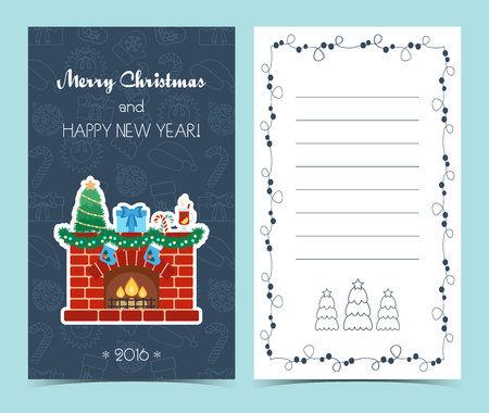 fireside: Christmas card on the front and inside. Christmas cheer. Flat design. Vector illustration