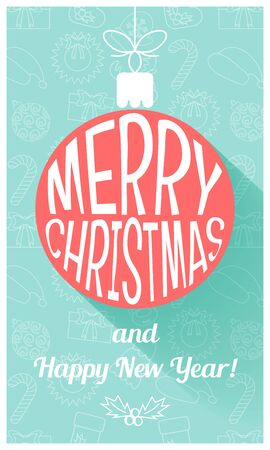 happy new year stamp: Christmas card in retro style. Flat design. Vector illustration Illustration