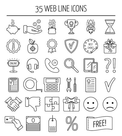 mistrust: Set of linear web icons. Line icons for business, web development and landing page. Flat design. Vector illustration