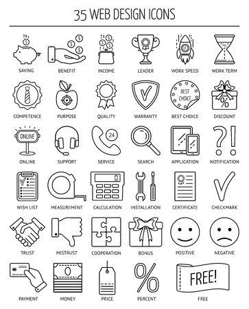 mistrust: 35 linear web icons. Line icons for business, web development and landing page. Flat design. Vector illustration