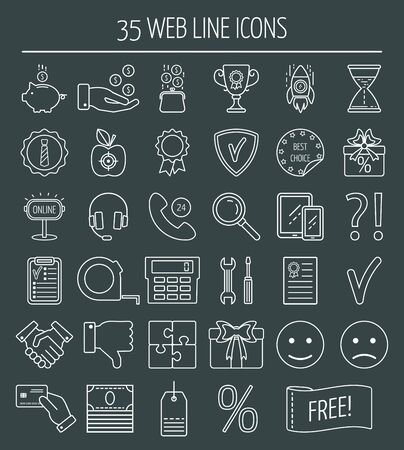 mistrust: 35 linear web design icons. Line icons for business, web development and landing page. Flat design. Vector illustration