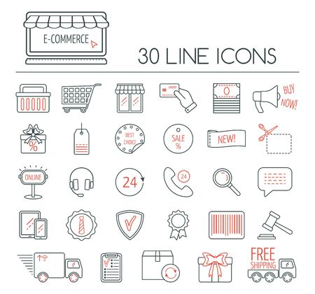 ecommerce icons: Set of e-commerce linear icons. Modern line icons for business, web development and landing page. Flat design. Vector illustration