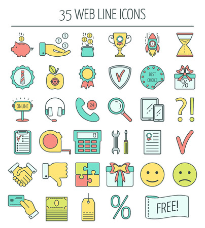 mistrust: 35 linear web icons. Color moder line icons for business, web development and landing page. Flat design. Vector illustration