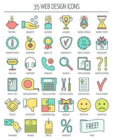 moder: Linear web icons. Color moder line icons for business, web development and landing page. Flat design. Vector illustration