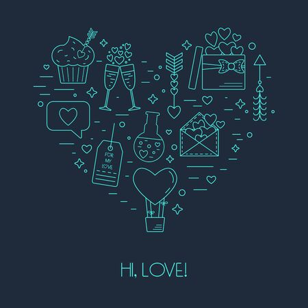 arrow poison: Modern concept from linear icons for Valentines Day and the wedding day in the form of heart. Vector illustration Illustration