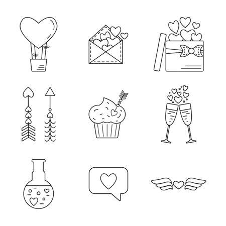 poison arrow: Set of line valentine day icon. Flat design. Vector illustration