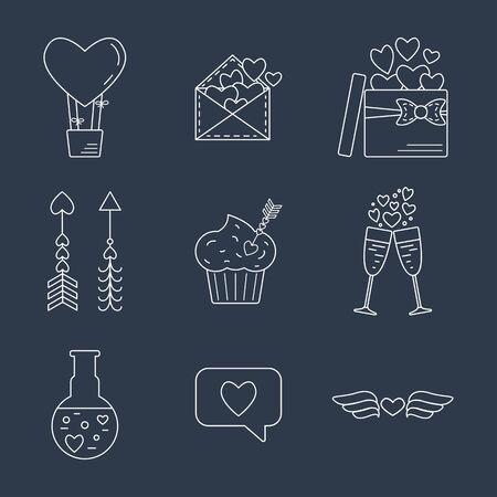 poison arrow: Line valentine day icon. Flat design. Vector illustration Illustration