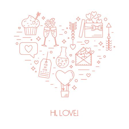 poison arrow: Concept from linear icons for Valentines Day and the wedding day in the form of heart. Vector illustration