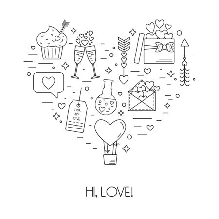 poison arrow: Concept from linear icons for St. Valentines Day and the wedding day in the form of heart. Flat design. Vector illustration