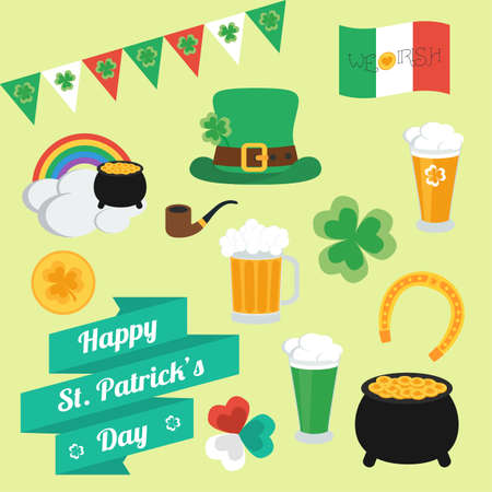 17 march: Flat elements on Patricks Day. Set. Banner. Illustration