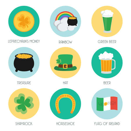 17 march: Set of flat icons on Patricks Day. Illustration