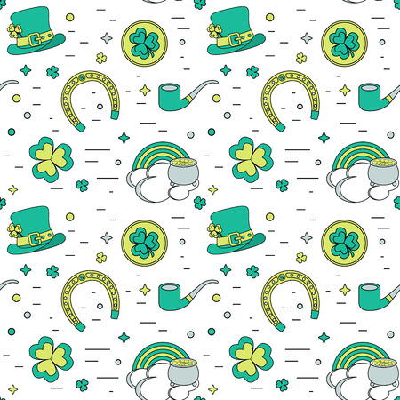 17 of march: Color modern seamless background for Patricks Day. The traditional attributes. Illustration