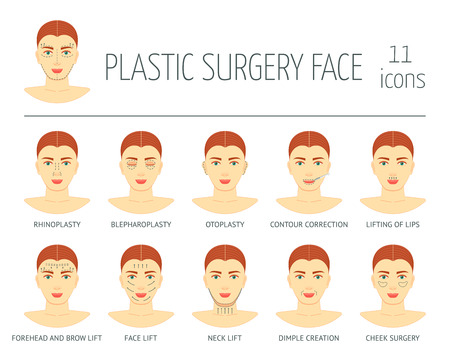 face surgery: Set of plastic surgery face icons. Flat design. Vector illustration