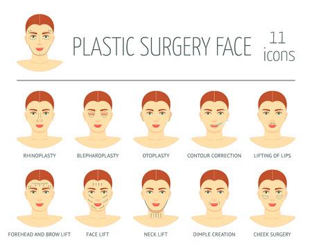Set van plastische chirurgie gezicht pictogrammen. Plat ontwerp. vector illustratie