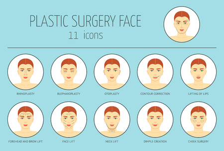 face surgery: 11 icons of plastic surgery face. Flat design. Vector illustration
