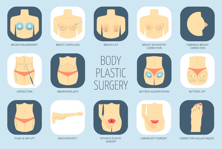 Ikony ciała chirurgii plastycznej. Płaska konstrukcja. Ilustracji wektorowych