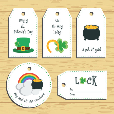 paddys: Happy st. Patricks day gift tags. Ready to use. St. Paddys day greeting. Flat design.