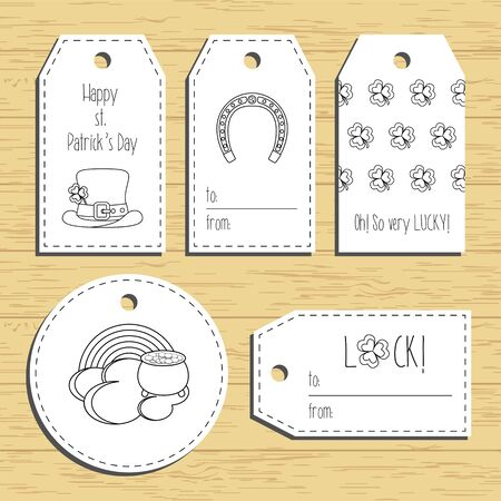 paddys: Happy st. Patricks day gift tags with line icons. Ready to use. St. Paddys day greeting. Flat design.