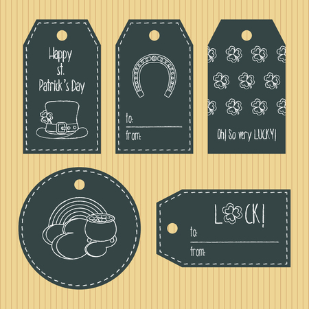 paddys: Happy st. Patricks day gift tags from chalky texture. Ready to use. St. Paddys day greeting. Flat design.
