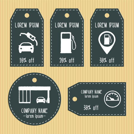 chalky: Gas station discount gift tags from chalky texture. Ready to use. Flat design.