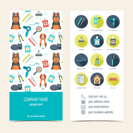 pet grooming: brochure for pet grooming. Pet care. Set of promotional products. Flat design. illustration