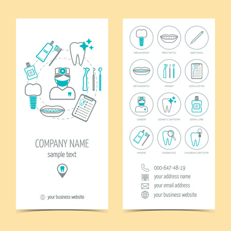 promotional products: Set of  brochure for dental clinic. Dental care. Set of promotional products. Flat design. illustration