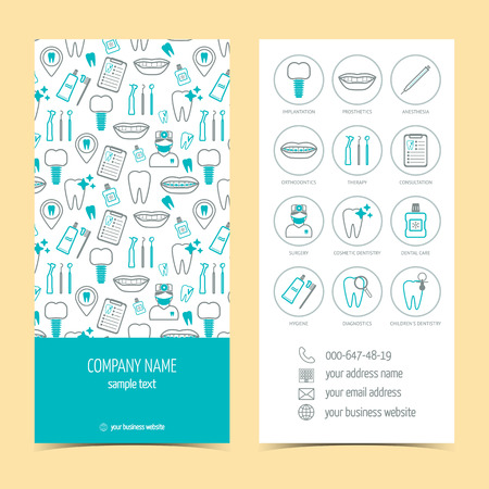 promotional products: brochure for dental clinic. Set of promotional products. Flat design. illustration Illustration