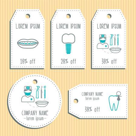 presentation card: Dental discount gift tags. Ready to use. Flat design. illustration Illustration