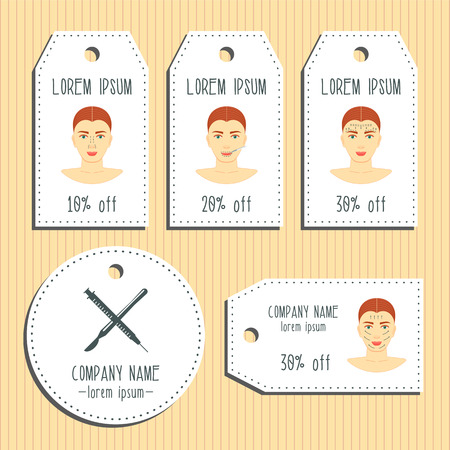 face surgery: Face plastic surgery discount gift tags. Ready to use. Flat design. illustration