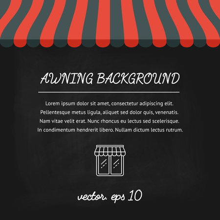 vitrine: Banner, background, poster, concept with striped awnings for shop and marketplace on a chalkboard. Flat design. illustration Illustration