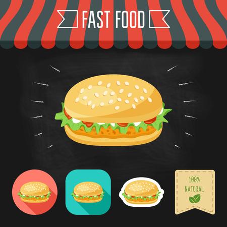 Chicken Burger ikonę na tablicy. Zestaw ikon i ekologicznym opakowaniu. Płaska konstrukcja. ilustracja Ilustracje wektorowe