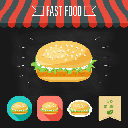 nuggets: Fish burger icon on a chalkboard. Set of icons and eco label. Flat design. illustration