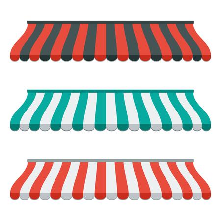 상점 및 시장에 대 한 스트라이프 차일의 집합입니다. 절연 하 고 다채로운. 평면 디자인. 삽화