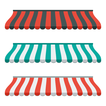 awnings: Set of striped awnings for shop and marketplace. Isolated and colorful. Flat design. illustration