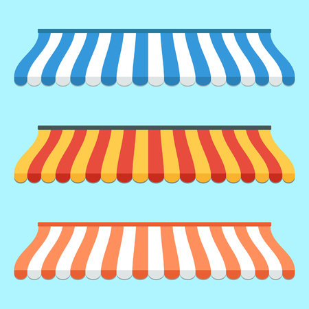awnings: Set of colorful striped awnings for shop and marketplace. Flat design. illustration Illustration